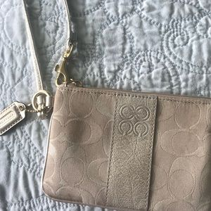 Authentic Coach small champagne wristlet